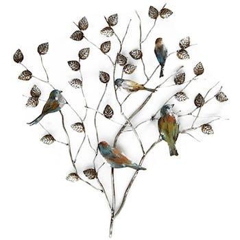 Décoration murale Branche avec oiseaux en métal multicolore 75x82cm