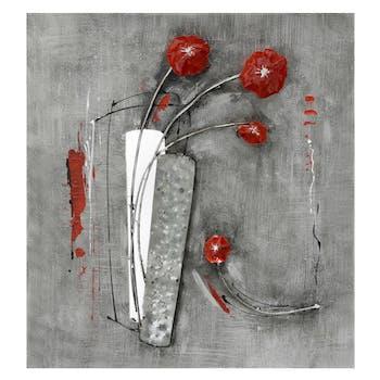 Décoration murale Fleurs rouges sur plaque métal gris 58x60cm