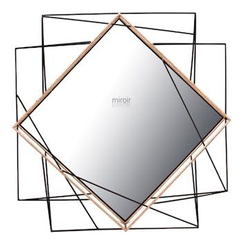Miroir losange et enchevêtrement de tiges métal noir 86x84cm