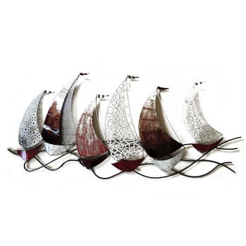 Décoration murale Régate de bateaux voiles découpées et texturées argent et marron en métal 140x65cm
