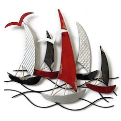 Décoration murale Régate de bateaux avec mouettes rouges, noirs et argentés en métal 44x39cm