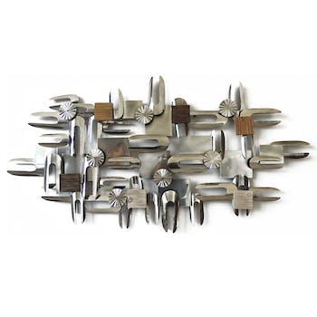 Décoration murale Assemblage de formes en métal et bois argenté et marron 134x70cm