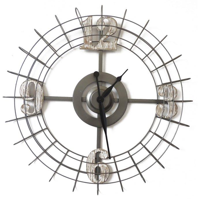 Horloge murale en métal et chiffres en bois gris et beige D75cm