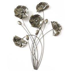 Décoration murale Bouquet fleurs en métal argenté 42x56cm