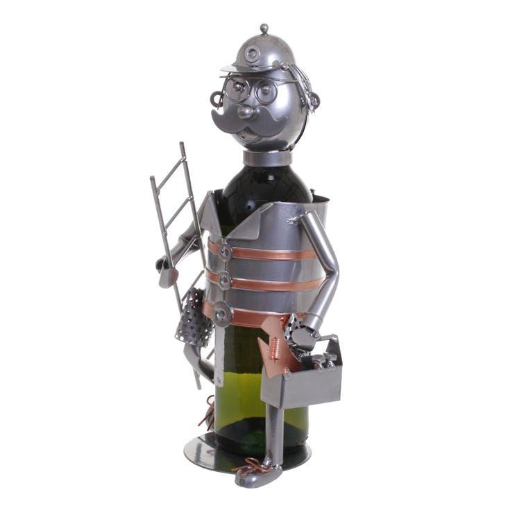 Porte bouteille Bricoleur en métal coloris alu et cuivre 15x21x24cm