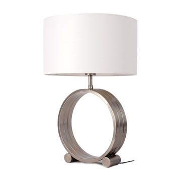 Lampe pied en métal triple anneaux gris et blanc H60cm