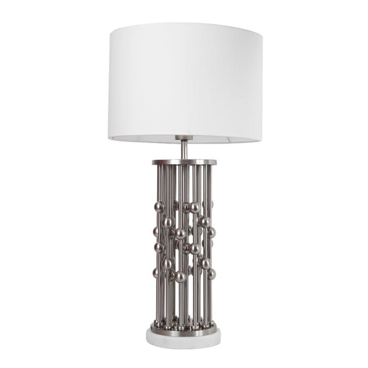 En Sur Blanc H65cm Et Boules Métal Colonnes Gris Pied Lampe w8m0nN