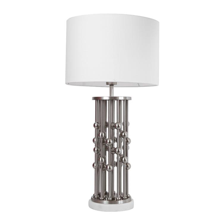 Lampe pied en métal boules sur colonnes gris et blanc H65cm