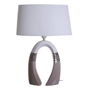 Lampe pied en céramique arqué beige et blanc H52cm