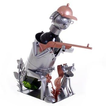 Porte bouteille Chasseur et fusil avec son chien, en métal, coloris alu et cuivre 30x13x22cm