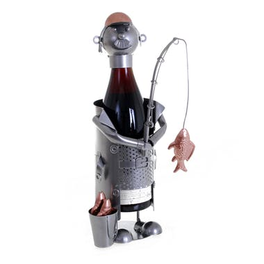 Porte bouteille Pêcheur, en métal, coloris alu et cuivre 15x12x23,5cm