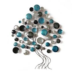 Décoration murale Arbre stylisé feuilles rondes couleur bleu et argent en métal 80x101cm