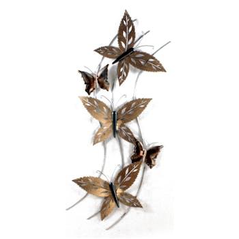 Décoration murale 3 grands papillons sur fil en métal couleur doré et cuivré 46x112cm