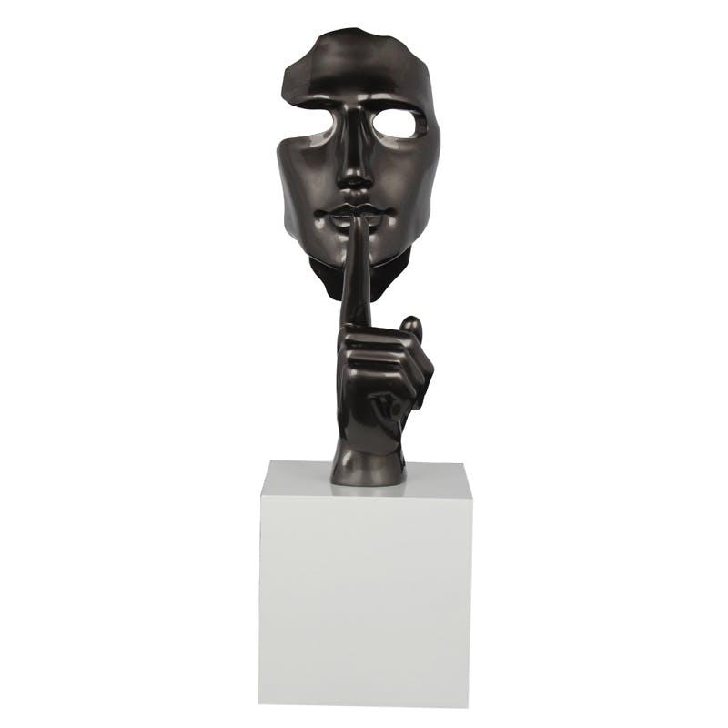 """Sculpture """"En Secreto"""" visage et main gris sur socle H57cm"""