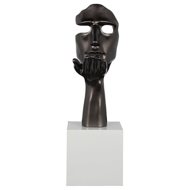 """Sculpture """"Speranza"""" visage et main gris perle sur socle H57cm"""