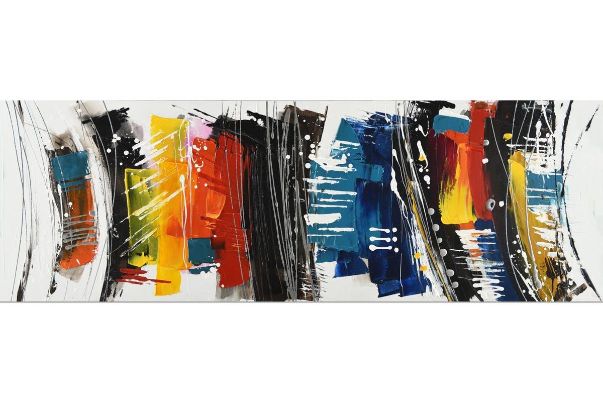 Tableau ABSTRAIT bandes verticales multicolores 50x150cm