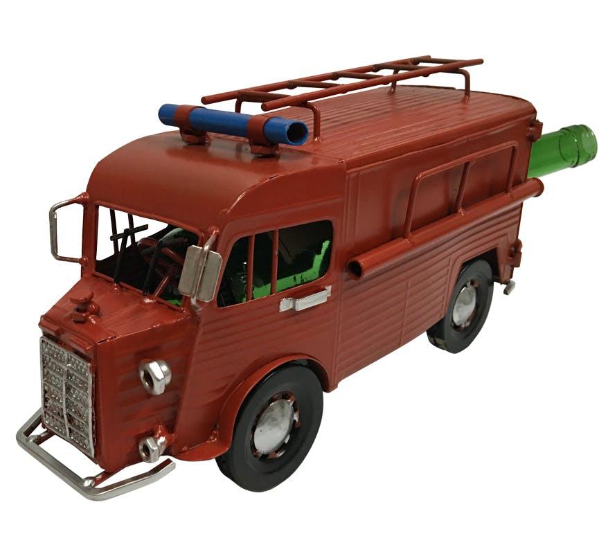 Porte bouteille Camion de Pompier vintage rouge, en métal 32x15x17cm