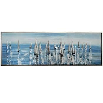 Tableau MARINE Régate de voiliers tons bleus dans cadre en aluminium 50x150cm