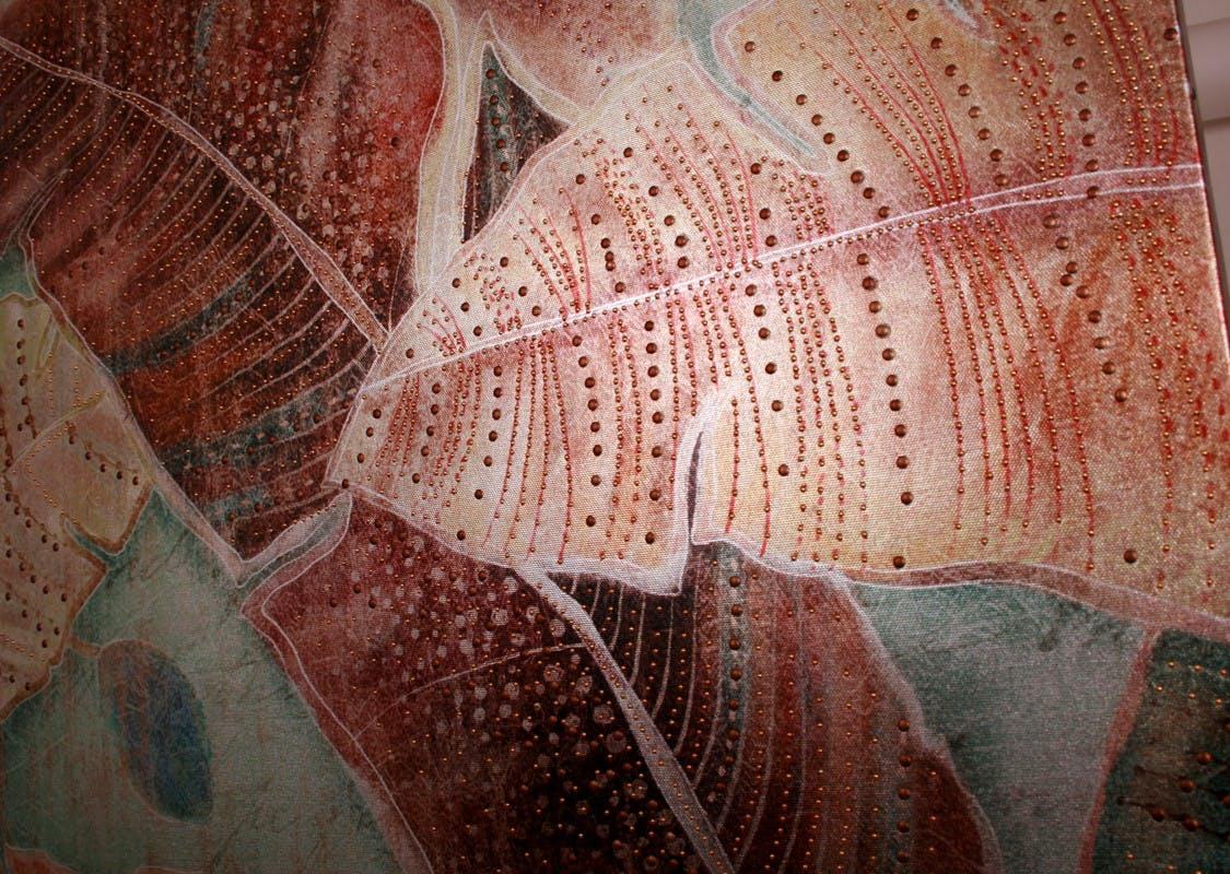 Tabeau Feuilles Palmes de Jungle couleurs chaudes décor Sequins 60x80cm