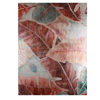 Tableau Feuilles Palmes de Jungle couleurs chaudes décor Sequins 60x80cm