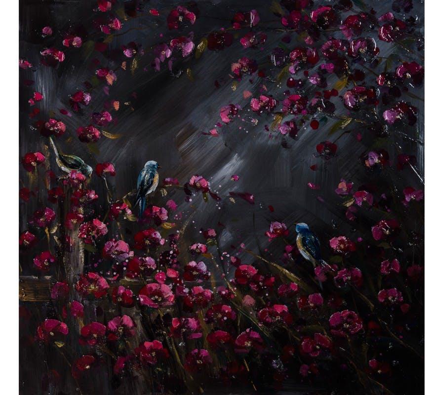 Tableau Envolée de Fleurs rouges rose et Oiseaux bleu avec Gloss fond noir 100x100cm