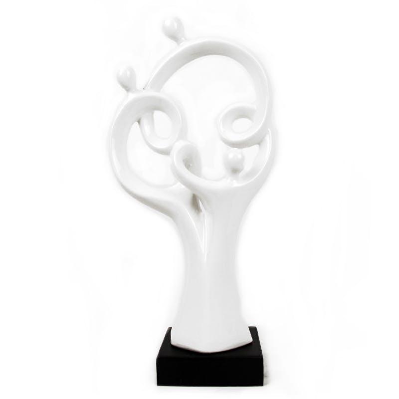 Sculpture Famille Stylisée blanc brillant sur socle H48cm