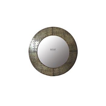 Miroir Style Indus en métal avec rivets D60cm