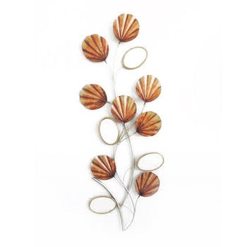 Décoration murale tige de fleurs tons orangés en métal et miroirs ovales 27x72cm