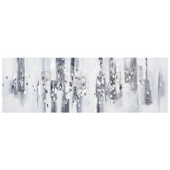 Tableau Abstrait tons blancs et gris avec effets 40x120cm
