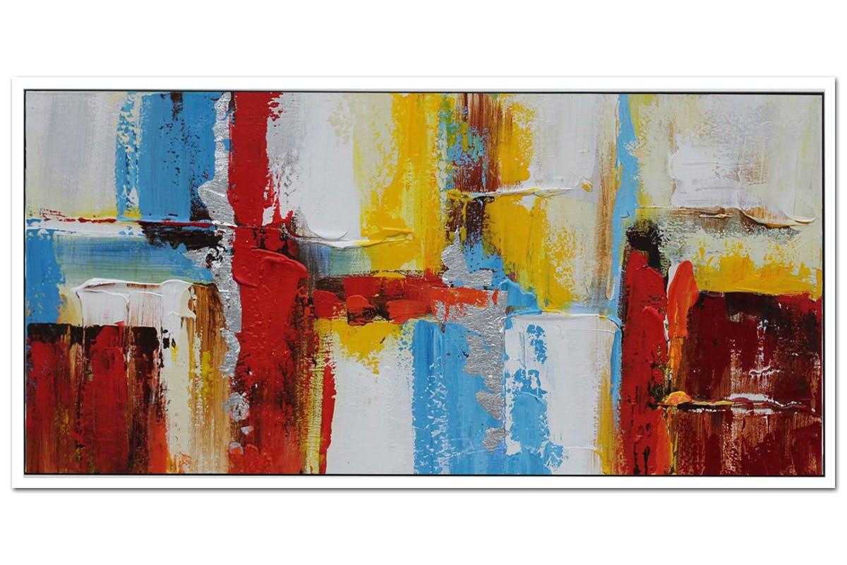 Tableau Abstrait Couleurs Primaires Vives toile sur cadre 60x120cm