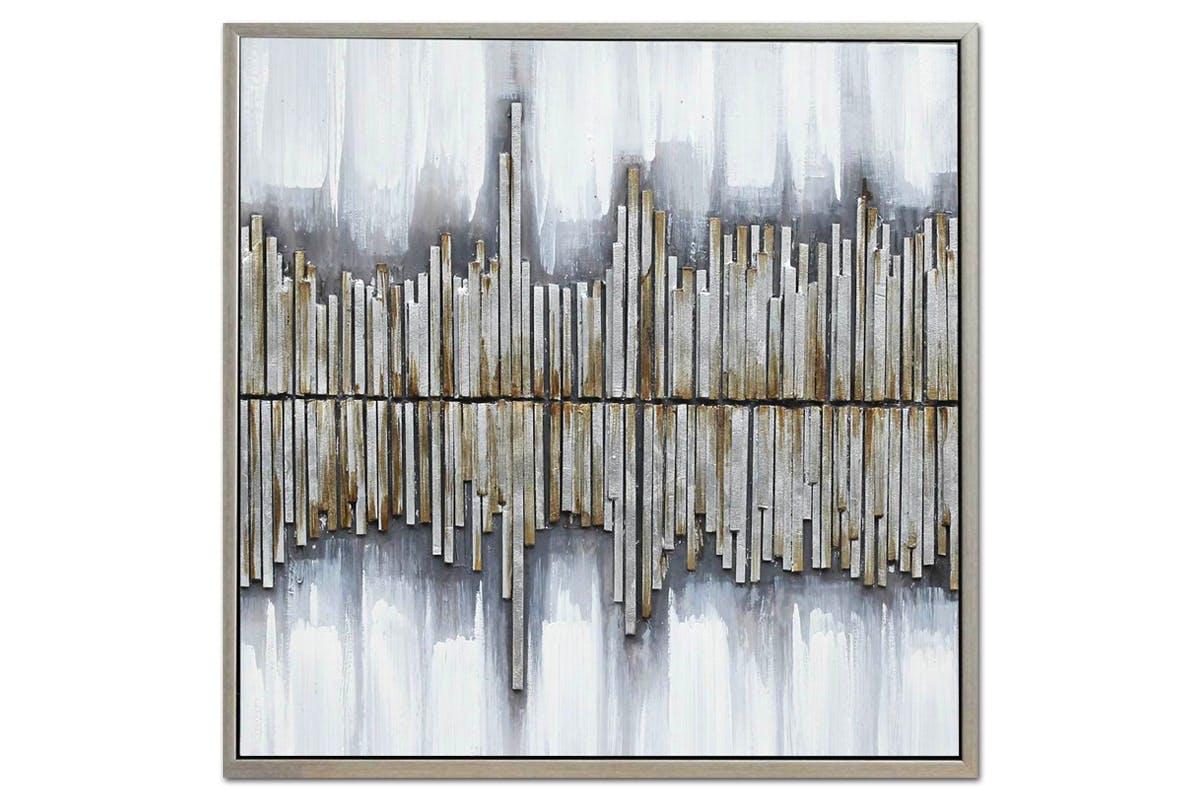 Tableau Abstrait Bandes Argentées toile sur cadre 60x60cm