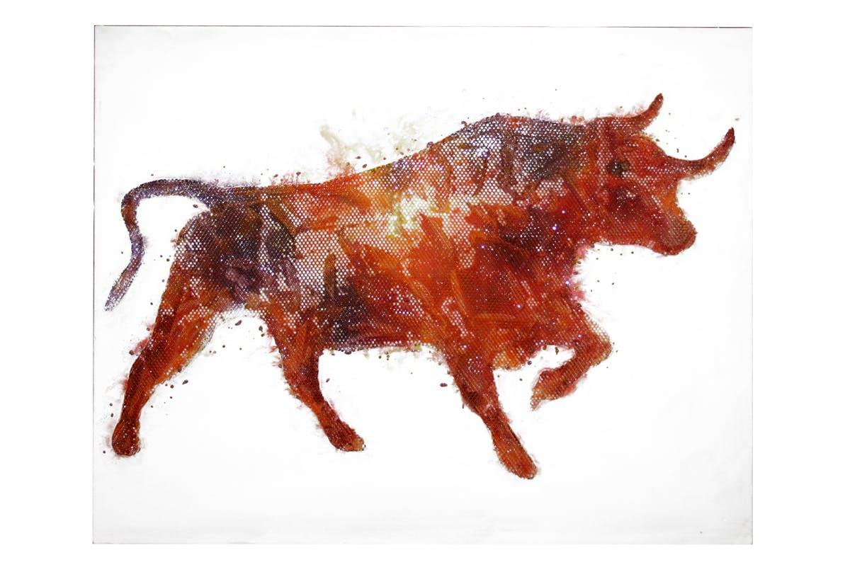 Tableau Taureau rouge feu avec effets 100x100cm
