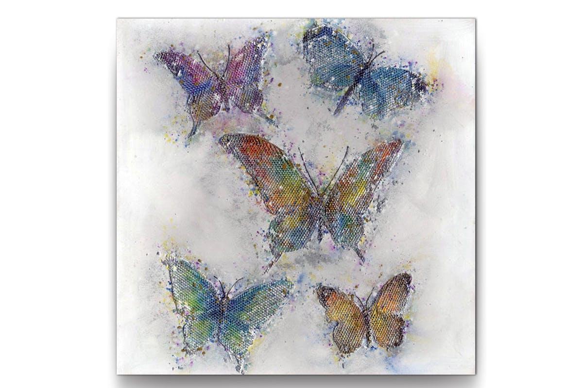 Tableau Papillons multicouleur sur grille 80x80cm