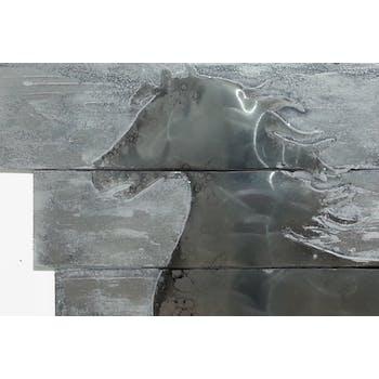 Tableau Cheval au Galop sur lames métal gris 100x100cm