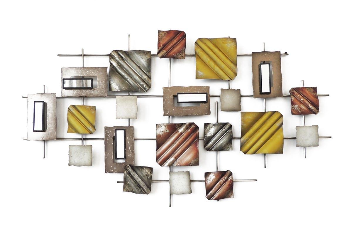 Décoration Murale Carrés Texturés Et Miroirs Sur Rectangles En Métal Coloré  10,5x53cm