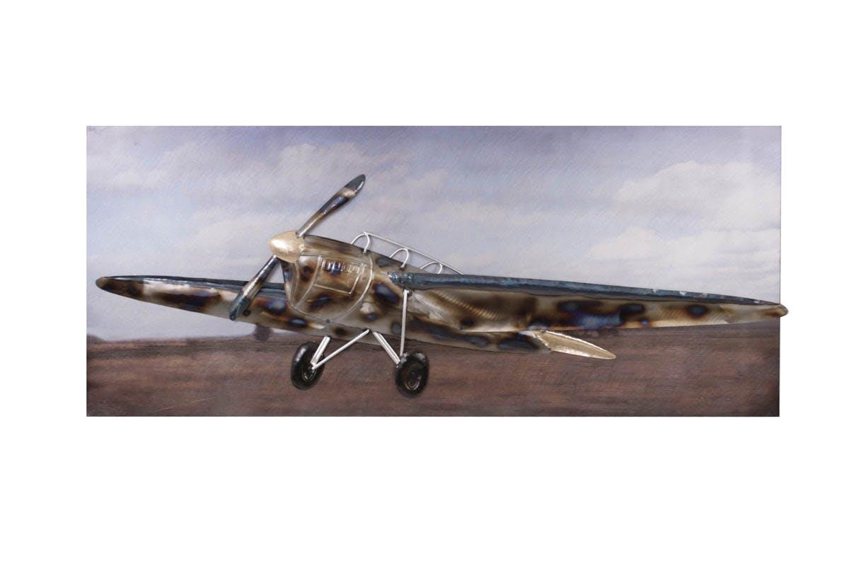 Tableau Avion de Chasse Vintage métal 108x48cm