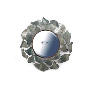 """Miroir rond contour décor """"Tâches"""" en métal gris tacheté D78cm"""