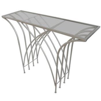 Console en métal chromé pieds en arcs croisés et plateau verre 30x104x79cm