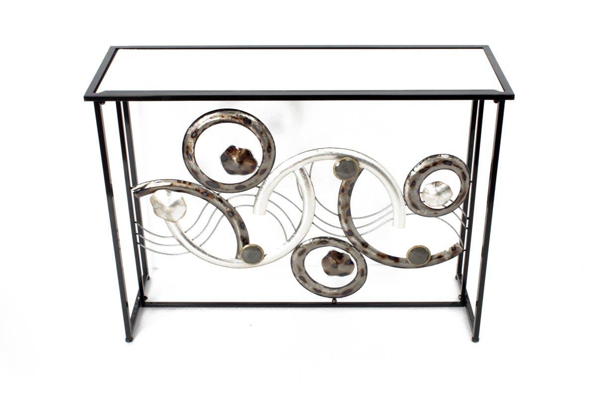 Console métal noir décor Cercles et Arc de cercles métal argenté et coloré avec effets et plateau verre 36x108x79,5cm