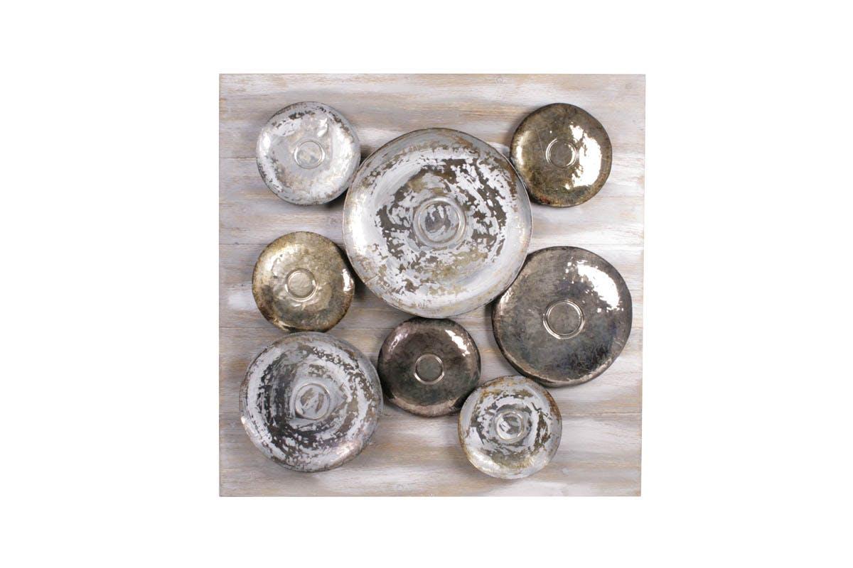 Tableau Disques métal argenté doré et cuivré effet brossé sur bois 90x90cm