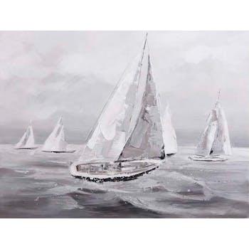 Tableau de 4 voiliers peint en relief sur une mer agitée 90x120 cm - Coloris blanc,gris et bleu