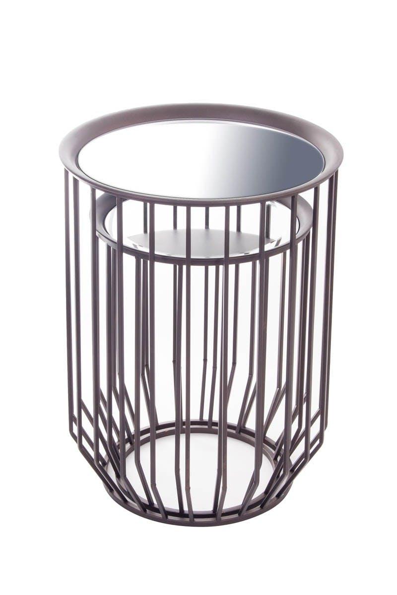 Lot de 2 sellettes BEAUX-ARTS avec plateau miroir amovible en métal D44xH58,5cm