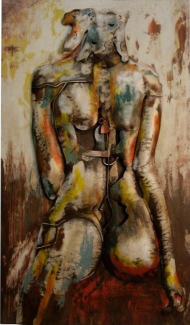 NUS Tableau figuratif vertical insert femme métal 49x80