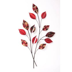 Décoration murale métal branches feuilles rouges 42x70