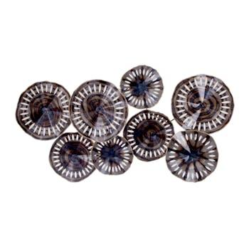 Décoration murale métal disques ondulés perforés 127x68