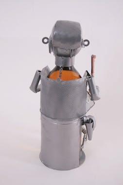 Porte bouteille Chasseur et son chien, tenant un fusil et un canard, en métal D10xH25cm - Coloris alu et cuivre