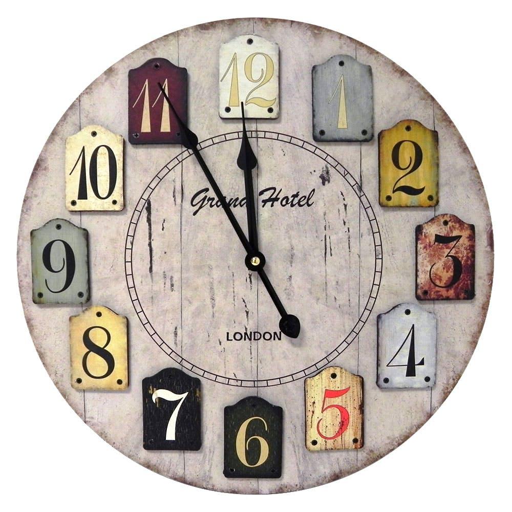 """Horloge """"Grand hotel London"""" en bois naturel et chiffres multicolor D40cm"""