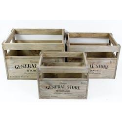 """Lot de 3 Caisses de rangement en bois """"General Store"""" 35x27cm"""