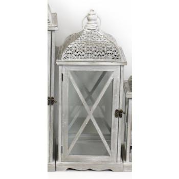 Lanterne bois et métal grisés motifs ajourés style marocain 53x22x22cm