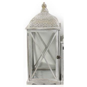 Lanterne bois et métal grisés motifs ajourés style marocain 68x68x28cm